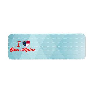 I Love Glen Alpine, North Carolina Custom Return Address Label