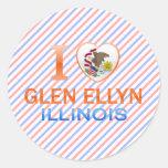 I Love Glen Ellyn, IL Round Stickers