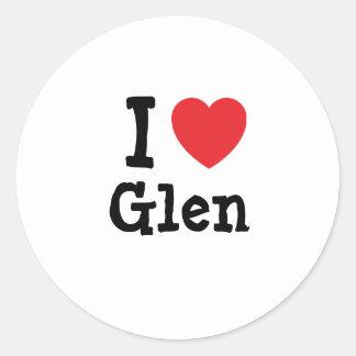 I love Glen heart custom personalized Round Sticker