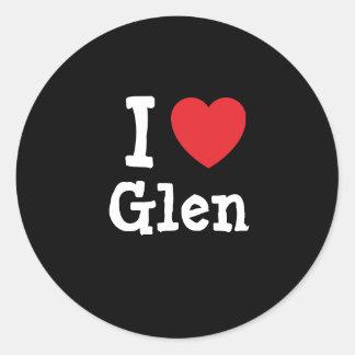 I love Glen heart custom personalized Sticker
