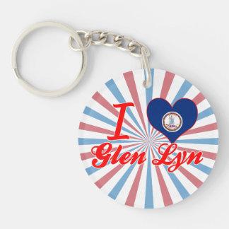 I Love Glen Lyn, Virginia Single-Sided Round Acrylic Keychain
