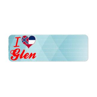 I Love Glen, Mississippi Return Address Label