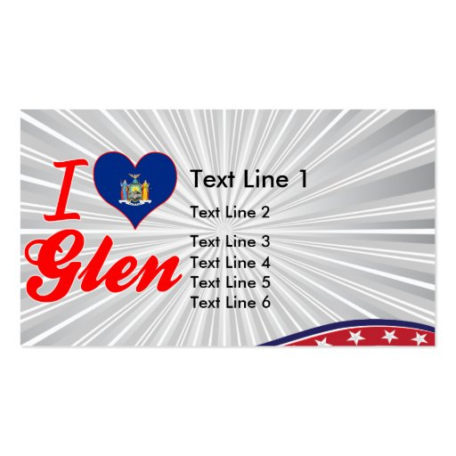 I Love Glen, New York Double-Sided Standard Business Cards (Pack Of 100)