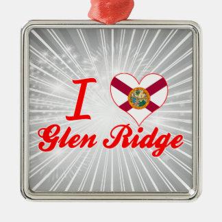 I Love Glen Ridge, Florida Square Metal Christmas Ornament