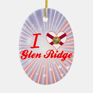 I Love Glen Ridge, Florida Double-Sided Oval Ceramic Christmas Ornament