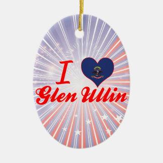 I Love Glen Ullin, North Dakota Christmas Tree Ornaments