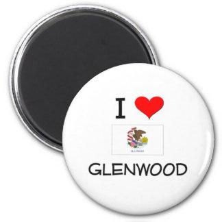 I Love GLENWOOD Illinois 2 Inch Round Magnet