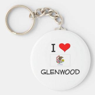 I Love GLENWOOD Illinois Basic Round Button Keychain