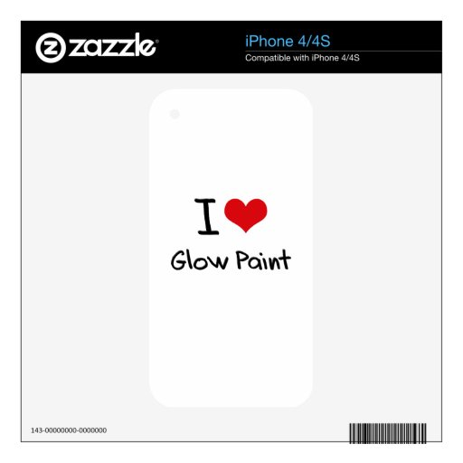 I Love Glow Paint Skins For iPhone 4