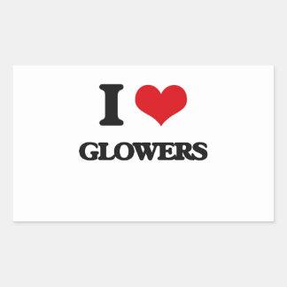 I love Glowers Rectangular Sticker