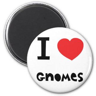 I love gnomes 2 inch round magnet