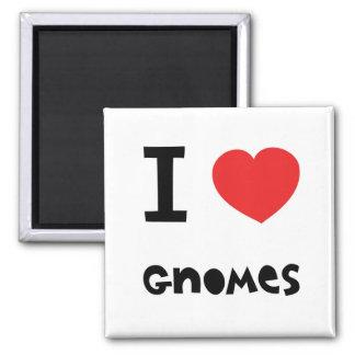 I love gnomes 2 inch square magnet