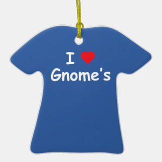 I Love Gnome's Double-Sided T-Shirt Ceramic Christmas Ornament