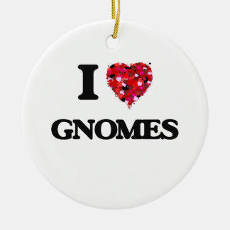 I Love Gnomes Double-Sided Ceramic Round Christmas Ornament
