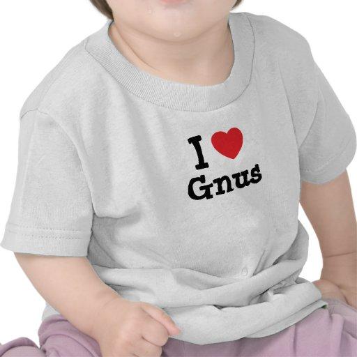 I love Gnus heart custom personalized T-shirt