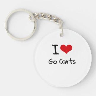 I Love Go Carts Double-Sided Round Acrylic Keychain