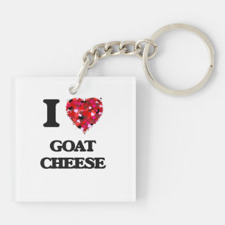 I love Goat Cheese Double-Sided Square Acrylic Keychain