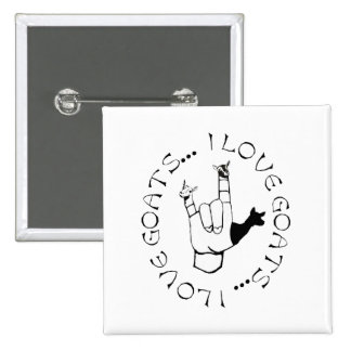 I Love Goats ASL Sign Language Hand Symbol Pinback Button