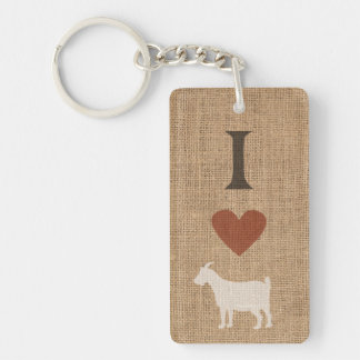 I Love Goats Burlap Two-sided Keychain
