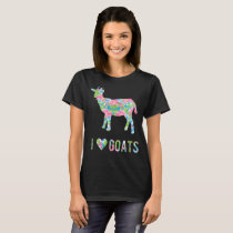 I Love Goats Colorful Floral Pattern T-Shirt
