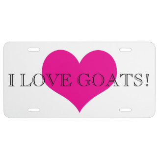 I Love Goats Pink Heart License Plate