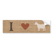 I Love Goats Rustic Burlap Bumper Sticker