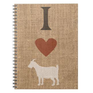 I Love Goats Rustic Burlap Notebook