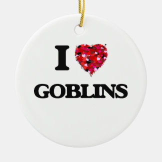 I Love Goblins Double-Sided Ceramic Round Christmas Ornament
