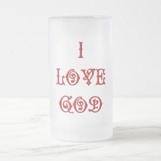 I love God Frosted Glass Beer Mug