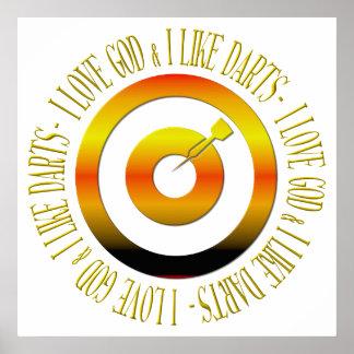 I love God & I like darts Posters