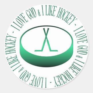 I love God & I like hockey Classic Round Sticker