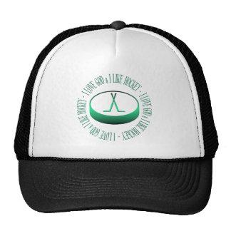 I love God & I like hockey Trucker Hat