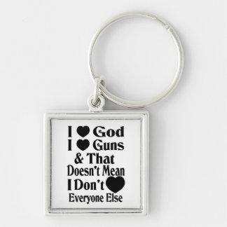 I Love God-I Love Guns Silver-Colored Square Keychain