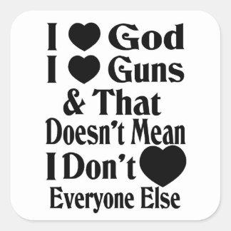 I Love God-I Love Guns Square Sticker