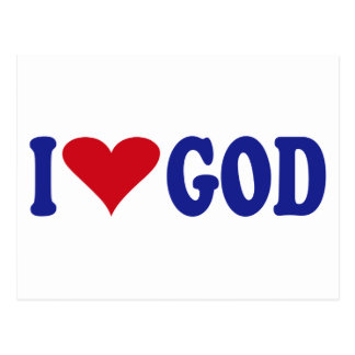 I Love God Postcard