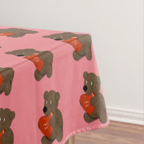 I Love God Teddy Bear Heart Tablecloth