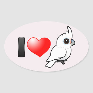 I Love Goffin's Cockatoos Oval Sticker