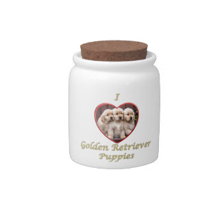 I Love Golden Retriever Puppies Candy Jars
