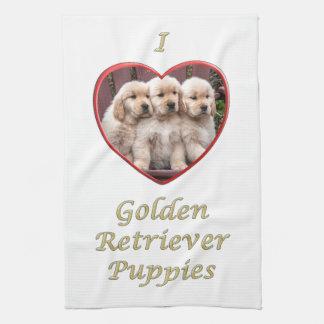 I love Golden Retriever Puppies Kitchen Towel