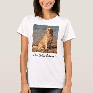 I Love Golden Retrievers!  Sitting Golden T-Shirt