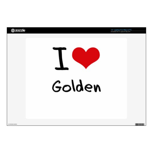 I Love Golden Decals For Laptops