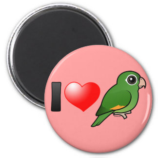 I Love Golden-winged Parakeets 2 Inch Round Magnet