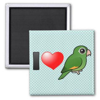 I Love Golden-winged Parakeets 2 Inch Square Magnet