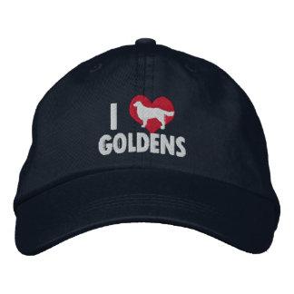 I Love Goldens Dark Embroidered Hats