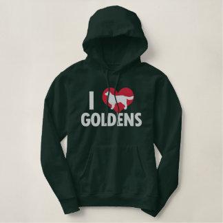 I Love Goldens Dark Embroidered Hoodie