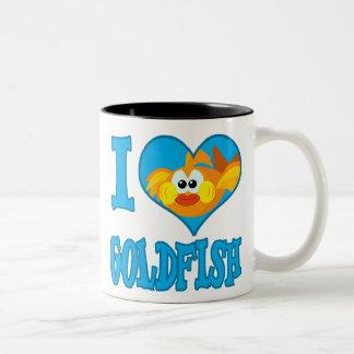 I Love goldfish Two-Tone Coffee Mug