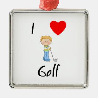 I Love Golf (2) Metal Ornament