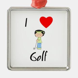 I Love Golf (3) Metal Ornament