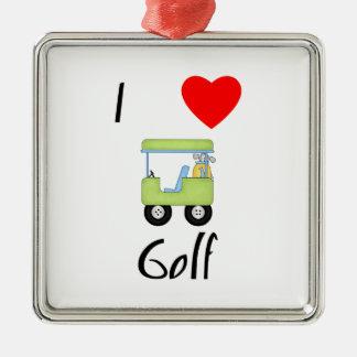 I Love Golf (4) Metal Ornament