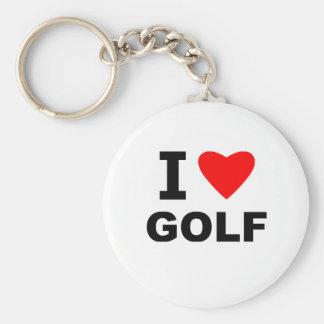 I Love Golf Basic Round Button Keychain
